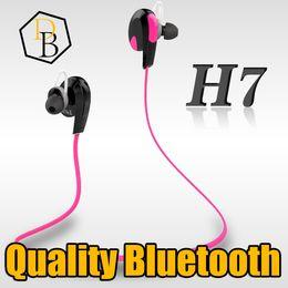 Wholesale Headphone Real - Bluetooth Earphone H7 Quality Real Stereo Sound Bluetooth 4.1 Ear Hook Head phone Wirless Handsfree Bluetooth Headset Iphone 7 Headphone