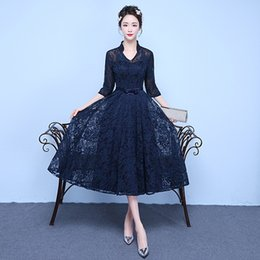 Wholesale White Dinner Cocktail Dress - New Tea Length Lace Evening Prom Dress 2017 Slim Sexy high collar V Neck Navy Blue Beading A Line Party Dinner Dress Tailor Made