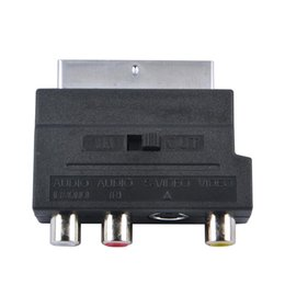 Wholesale Rgb Rca Converter - Wholesale-Hot Selling RGB Scart to Composite RCA S-Video AV TV Audio Adapter Converter For TV DVD VCR
