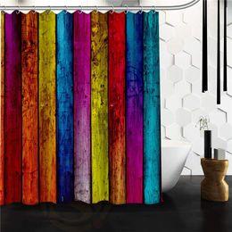 "Wholesale Pvc Bathroom Curtain - Wholesale- 100% Polyester Waterproof Classic Retro Colorful Wood Stripes Shower Curtain 48""x72"" 60""x72"" Bathroom Decor"
