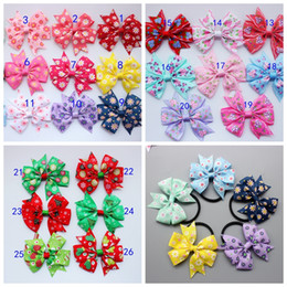 Wholesale Elastic Hair Ties Print - 50pcs lot 3.2'' handmade Kids printing flower Hair Bows Grosgrain Ribbon Bows Tie With Elastic Band For Baby Girls