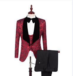 Wholesale Red Vest Tie - Real Pictures Black Shawl Lapel Groom Tuxedos Red White Pink Men Suits Wedding Best Man Blazer (Jacket+Pants+ Bow Tie+Vest)