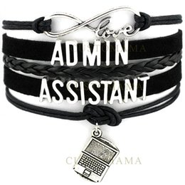 Wholesale Custom Laptops - Custom-Infinity Love Admin Assistant Bracelet Laptop Charm Administrative Assistant The Best Black Suede Leather Custom any Themes