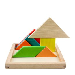 Wholesale Tangram Jigsaws - Children Big Size Wooden Jigsaw Puzzle Tangram puzzle Baby Beech Toys Blocks Geometric Blocks Children Learning & Education Toys