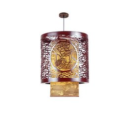 Wholesale Chinese Traditional Lamp - Classic Chinese Style Wooden Pendant Lamp Vintage Dining Room Pendant Light Tea House Hallway Balcony Hanging Lamps