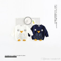 Wholesale Penguin Clothes - INS NEW ARRIVAL boys girl 100% cotton Long Sleeve cartoon Penguin print hoodies child clothe pullover outerwear baby kids hoodies