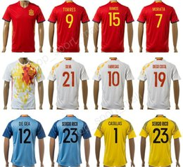 Wholesale Custom Soccer Shirts - 17-18 Spain Soccer Jersey camiseta de futbol Custom 15 Sergio Ramos 21 David Silva Football Shirt 9 TORRES 6 Andres Iniesta 1 Iker Casillas