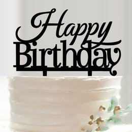 Wholesale Engraving Supplies - Happy Birthday Acrylic Cake Topper Birthday Party Baby Shower Cake Inserted Card Engraving Acrylic Festival Supplies