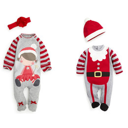 Wholesale Girls Footies - 2017 Christmas Boys Girls Baby Wrap Foot Jumpsuits Clothing Sets Xmas Toddler Rompers Cap 2Pcs Set Santa Striped Footies Onesies Clothes