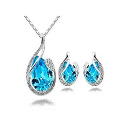 Wholesale Teardrop Shaped Crystal Pendant - DHL Teardrop Shaped Austrian Crystal Jewelry Set with Diamonds Pendant Necklace And A Pair of Swarovski Crystal Geometric Earrings for Women