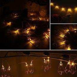 Wholesale Led String Diamond Lights - Wholesale- 20pcs LED String Light Rose Gold Diamond Shape for Holiday Bacolny Decoration Wedding Hollowen Christmas EU Plug(3m 9.8ft)