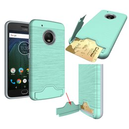 Wholesale back pocket iphone cases - For MOTO G5S Case Brush Card Slot Holder Back Cover with Kickstand Case For MOGO G5S G5S plus