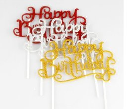 Wholesale sticker happy birthdays - DIY Happy Birthday Flag Cake Topper Decoration Party Favors Sticker Decor Banner Card Birthday Cake Accessory