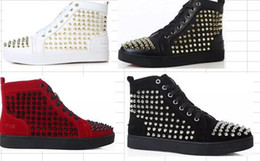 Wholesale Ivory Dress Lace Bottom - 2017 new Prefer Birthday Gift,Luxury Party Dress Shoes Spikes Red Bottom Sneaker Flat Men's High Top Lace-up Fashion Loubs Men Casual Train