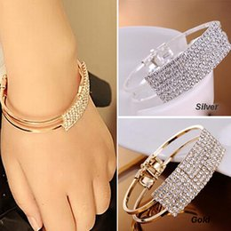 Wholesale 14k Gold Snake Ring - Wholesale-2015 Womens Fashion Elegant Gold Silver plated Wristband Bangle Crystal Cuff Bracelet Bling Hand Chain Bracelet women jewelry