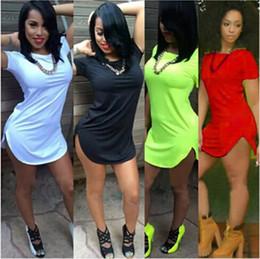 Tees de túnica online-Venta caliente Plus Size Women Tee Tops Camiseta de túnica de algodón de manga corta suelta Casual O-cuello Camiseta larga Camisetas Mujer Poleras Mujer envío gratis
