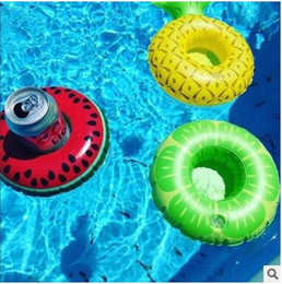 Wholesale Red Buoy - Wholesale Flamingos Fruit Inflatable Float Ring Cans Buoy Summer Swim Toys Drinks Ring Fruit Sharp Mini Swim Ring 7 Color Free Shipping