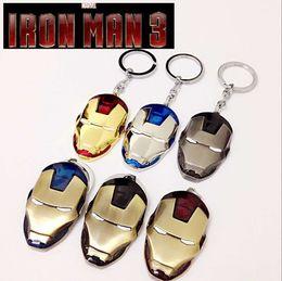 Wholesale Iron Man Movie Helmet - The Avengers Anime Movie Iron Man helmet keychain Alloy mask pendant keyring Key Chain Ring Fob for fans souvenirs Super Hero Man