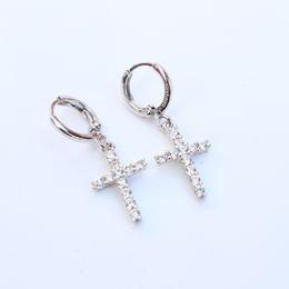 Wholesale real 24k gold earrings - Real 24k 24ct White Gold Filled Women's Men's Austrian Crystal Crosses Pendant Drop Dangle Earrings 1 pair