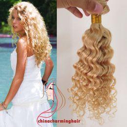 Wholesale Platinum Blonde Hair Extensions Weft - Blonde Deep wave Virgin Hair Extension natural human hair weaves Deep wave #613 platinum blonde hair weaving weft