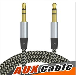 Wholesale I5 Phone Gold - Aux braid audiop cable 3.5mm male to male stereo audio cord wire 1m 3FT cable for samsung LG HTC cell phone mp3 players OM-I5