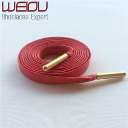 Wholesale Waxed Cotton String - Weiou flat cotton waxed bootlaces custom length cotton shoe laces string for work boots with Gold metal tips 90cm 35''