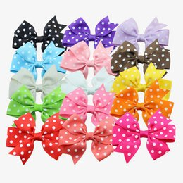 Wholesale Hairbow Set - Wholesale- 15pcs set grosgrain hair ribbon bow baby hairbow girl boutique bow with clips barrette children hair accessories