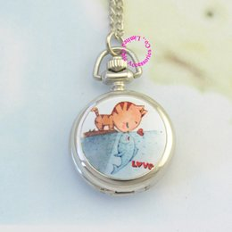 Wholesale Ladies Fob Watch Necklace - Wholesale-silver classic cute cat kiss fish girl lady women fob pocket watch necklace watches hour low price good antibrittle new fashion