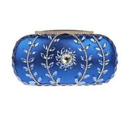 Wholesale Vintage Rhinestone Clutch - Wholesale-Vintage rhinestones wedding evening clutches bags blue bridal clutch purse on chain black gold silver lady party purse XA1211A