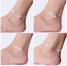 Wholesale Chain Girls Nice Foot - Fashion 925 Sterling Silver Anklets For Women Ladies Girls Unique Nice Sexy Simple Beads Silver Chain Anklet Ankle Foot Jewelry Gift