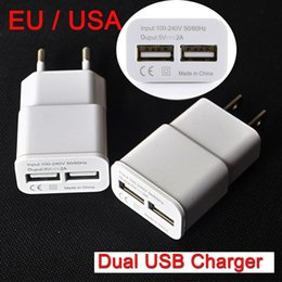Wholesale Usa Data - EU USA Plug 2 USB 5V 2A Adapter Wall Chargers Mobile Phone Device Micro Data Charging Charger For iPhone iPad Samsung MP3