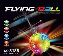 Wholesale Ufo Aircraft Toy - New Easy Operation Vehicle Flying RC Flying Ball Infrared Sense Induction Mini Aircraft Flashing Light Remote Control UFO Toys for Kids