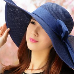 Wholesale Yellow Straw Brim Hat - Fashion youth hat woman summer eaves along the sun hat female Korean version of the beach holiday beach sun hat for woman