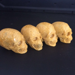 Wholesale Hand Carved Skull - Natural hand carved yellow jade stone quartz crystal skull flinder diamond gemstone yellow topaz human head for healing Reiki