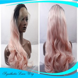 Wholesale Natural Rose Hair - High Temperature Fiber Hair Natural Hairline Glueless Long Wavy 1B Black Rose Pink Synthetic Lace Front Wig with Middle Part