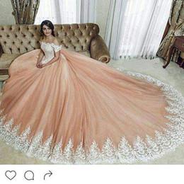Wholesale Long Dresses For Prom Peach - Peach Blush Elegant Prom Dresses 2017 Ball Gown Lace Off Shoulder Dubai Arabic Evening Dress Wear Party for Women vestidos de baile