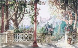 Paysage vert peinture à l'huile en Ligne-Fond d'écran gratuit Bois vert Colonnes romaines Encre Paysage Peinture à l'huile Mur Fond