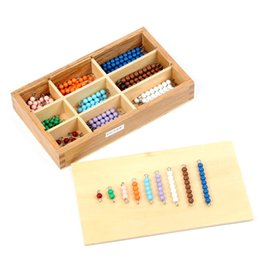 Wholesale Plastic String Beads - Wholesale- Montessori Materials Math Toys Colored Strings of Beads Learning Educational Toy Montessori Game For Baby Kids With Wooden Box