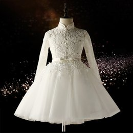 Wholesale Collared Long Sleeved Wedding Dresses - 2017 Winter White Flower Girls Dresses Lace Long Sleeved Girls Dresses for Wedding High Neck Embroidery Button A-line Children Party Gowns