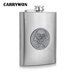 Wholesale Stainless Steel Skull Flask - Wholesale- CARRYWON Vintage Skull Leather Thickening 8oz Whisky Hip Flask Stainless Steel Mini Wine Portable Bar Outdoor Hip Flask