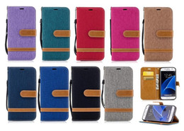 Wholesale Note Card Stands - CANVAS Wallet Leather Case For Samsung Galaxy NOTE8 S7 Edge S8 Plus 2017 A5 A3 J5 J7 J3 Prime Emerge Lenovo K8 NOTE Jean Stand Phone Cover
