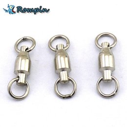 Wholesale Ring Swivels - Rompin 10Pcs lot Heavy Duty Ball Bearing Stainless Steel Fishing Rolling Swivels Connector Hook Solid Rings Size 0 1 2 3 4 5#