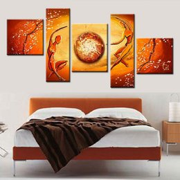 Wholesale Set Painting Wall Orange - 100% hand made modular paintings multi panel cancas wall art orange yellow figure oil painting home decoration art sets gift no frame