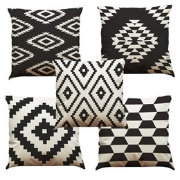 Wholesale cushions inserts - Black and White Lattice Linen Cushion Cover Home Office Sofa Square Pillow Case Decorative Cushion Covers Pillowcases Without Insert(18*18)