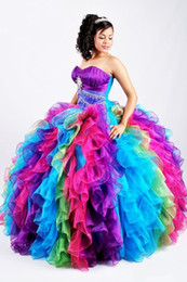 Wholesale Strapless Rainbow Prom Dresses - 2017 Ball Gown Rainbow Quinceanera Dresses With Colorful Organza Sweetheart Beaded Puffy Skirt Full Length Lace Up Prom Dress Seet 16 Dress