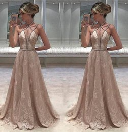 Wholesale Fashion South Africa - 2017 Sexy South Africa Sleeveless Lace Long Evening dresses Beaded Straps Open-Back Prom Gowns Chic Robe de soriee