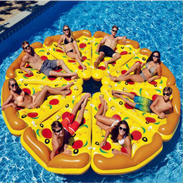 Wholesale Wholesale Float Tubes - Swim Fun Inflatable Floating Seat Pizza Float Slice Inflatable Beach Lounger Fun Float Swimming Pool Air Tubes Water Toy