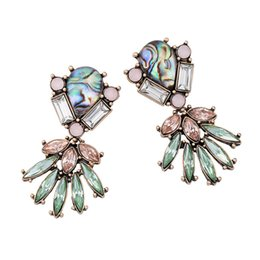 Wholesale Green Gemstone Earrings Statements - Exaggerated Green Flower Big Earrings For Women Crystal Gemstone Statement Earrings Vintage Magnificent European And American Trendy Earrin