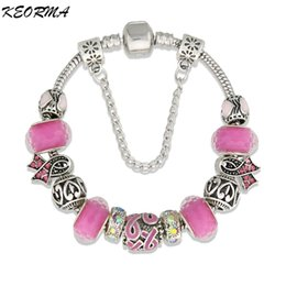 Wholesale Beautiful Glass Beads - Wholesale-Pink Ribbon Charm Bracelet Murano Glass Beads Bracelet for Women DIY Jewelry Bracelet Pulseras With a Beautiful Gift Bag