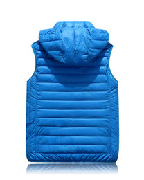 Wholesale Polyester Fiber Padding - Wholesale- 2017 Quality Branded Men's Winter Down Vests White Duck Down Padded Hooded Waistcoats Ultra Light Down Vests Men
